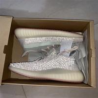 sapatos de corrida para mulheres venda por atacado-Citrin clound branco kanye mens running shoes designer de tênis das mulheres des chaussures semi congelado zebra não reflexivo sapato esporte