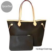tasarımcı çantalı omuz çantaları toptan satış-2 adet / takım Kadın Çantalar ve Çantalar Bayanlar Tasarımcı Satchel Çanta Tote Çanta Omuz Çantaları ile sikke çanta çanta