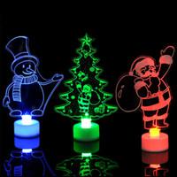цветные украшения оптовых-Рождественские огни светодиодных 3D Санта-Клаус Рождественской елки снеговик освещение Изменение цвет Акрил лампа партия украшение украшение MMA2611