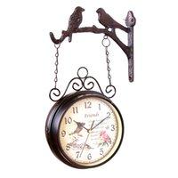 relógios de pássaro de quartzo venda por atacado-Estilo europeu Relógio de Parede Dupla Face Criativo Relógio Clássico Monocromático Decoração de Casa Dois Lados Pássaro Ferro Quartzo Antigo Chiqueiro