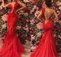 projetos da jóia um venda por atacado-2019 novo design ilusão corpete jóia do pescoço vermelho vestidos de noite de um ombro sereia tule sexy frisado vestidos de baile partido desgaste