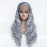 gri dokuma saç toptan satış-Satış sentetik elyaf ön dantel simülasyon saç gri corned uzun kıvırcık saç yarım el dokuma simülasyon saç kapak