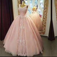 Wholesale maternity dresses for prom resale online - Blush Pink Princess A Line Quinceanera Ball Gowns Sparkly Beaded Lace Appliques Plus Size Cheap Sweet Debutante Dress Gowns for Prom