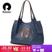 1576c52f3744 2019 Fashion Realer Women handbags Oxford cloth shoulder bag large  top-Handle bags ladies patent leather messenger tote bag female brand