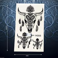 ingrosso adesivo testa toro-Autoadesivo del tatuaggio del hennè nero indiano Bull bue testa piuma Dreamcatcher Tatoo braccio impermeabile indietro decalcomanie adesivi tatuaggio temporaneo