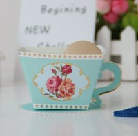 Wholesale baby shower tea party resale online - 2019 Tea Party Favors Paper Gift Box Pink Blue Tea Cup Candy Box Birthday Party Supplies Baby Shower Decoration