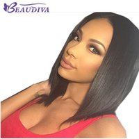Wholesale ladies wigs resale online - Beaudiva Human Hair Short Bob Wigs Straight Brazilian Virgin Hair Density Natural Hairline Glueless Bleached Knots