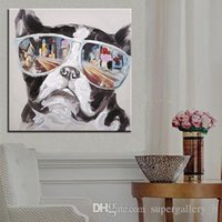 Wholesale dog oil paintings canvas for sale - Group buy Hand painted Abstract Animal Cool Glasses Dog Oil Painting On High Quality Canvas Modern Home Decor Wall Art a113