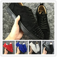 Wholesale flat bottomed white sneakers for sale - Designer Sneakers shoes low cut Spikes Flats shoes Red Bottom For Women and Men Leather Sneakers Party Designer shoes