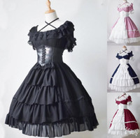 Wholesale age 12 dresses resale online - lolita middle ages adult cosplay prom vampire gothic retro medieval costume print court lady duke dress