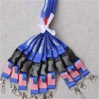 Wholesale camera lanyards neck resale online - Trump Lanyards Blue String Identification Badge Ropes Polyester Fiber Mobile Phone Camera Neck Rope New Arrival sh L1