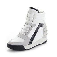 spor topuk ayakkabıları toptan satış-Kadın Spor Ayakkabısı Spor Konfor Perçin Yamaç Kama Topuk Yüksek Top Ayakkabı
