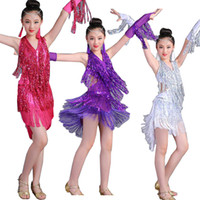 70b3d0382 Sequined Tassel Latin Dance Dress Girls Children Salsa Ballroom Dancing  Clothing Competition Costumes Kids Stage Dance Outfits