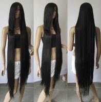 cosplay peruk uzun siyah düz saç toptan satış-ÜCRETSIZ KARGO + 130 cm 51 '' Uzun Siyah Isıya dayanıklı fiber Düz Cosplay Saç Peruk