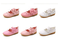 funkelnde rosa schuhe groihandel-Baby Mädchen PU Lederschuhe weiß rosa Rose Sparkle Party Ballerinas Little Kid Bow Show Princess Dress Shoes