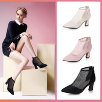 Wholesale cool new sandals for sale - Group buy Overseas2019 Shoes Women s Summer New Pattern European Sharp Gauze Sexy Cool Boots Thick High With Hollow Out Sandals Woman