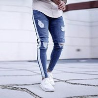 Wholesale jeans for mens wholesale for sale - 2019 Fashion Mens Hole Skinny Pants Fashion Stretch Ripped Jeans For Male Stripe Denim Pants Plus size Trouses XL High Quality