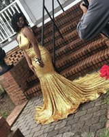 Wholesale girls jackets high neck for sale - Group buy 2019 Gorgeous Gold Sequined Halter Mermaid Prom Dresses Keyhole Neck Cutaway Sides Black Girls Evening Party Dresses South African