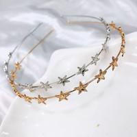 metal pentagram yıldızlar toptan satış-2019 Yeni Moda Kadınlar Altın Gümüş Metal Pentagram Yıldız Hairbands Geometrik Ince Bantlar Günlük Parti Için Zarif Headdress