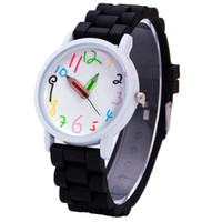 Wholesale Fashion colorful numbers pencil pointer hands candy watch new students children kids mens women quartz wrist watches