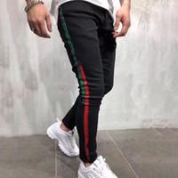 pantalones de diseñador al por mayor-Brand New Jeans para hombre Diseñador Skinny Ripped Yellow Red Stripes pantalones para hombre Stretch Slim Biker Jeans