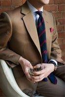 sastre de hombre a medida marrón esmoquin al por mayor-Tailor Made Brown Novios Trajes de Esmoquin para Hombre de Boda 2 Piezas (Chaqueta + Pantalones + Corbata) Slim Prom Masculino Trajes De Hombre Blazer
