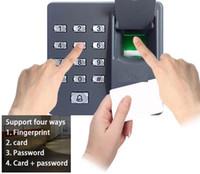 controle de acesso do teclado venda por atacado-RFID Fingerprint Reader senha Keypad Com ID Card 125KHz EM4100 Para Suporte Sistema de Controle de porta de acesso 500 da impressão digital 500card usuários
