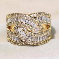 elmas sonsuzluğu toptan satış-Key4fashion Profesyonel Lüks Jewelry925 GümüşAltın Dolgulu Prenses Kesim Beyaz Topaz CZ Elmas Infinity Kadınlar Düğün Band Yüzük CZ