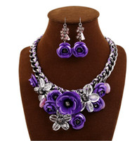 Wholesale wedding necklaces resale online - African Beads Jewelry Set Dubai Colorful Crystal Women Wedding Party Necklace Bangle Earring Ring Fine Jewelry Sets Necklace Earrings Ring