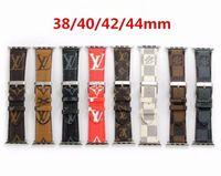 correa de reloj iwatch al por mayor-Bandas de reloj de cuero de lujo para Apple Watch Band Iwatch 38mm 42mm 40mm 44mm iwatch 2 3 4 Bandas Pulsera deportiva de cuero Diseñador Banda