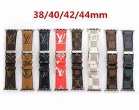 watchband apple watch venda por atacado-Pulseiras de couro de luxo para a apple watch band iwatch 38mm 42mm 40mm 44mm iwatch 2 3 4 bandas esportes pulseira de couro designer watch band