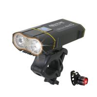 xml usb light al por mayor-6000lm Usb Bike 2x Xml-l2 Luces de bicicleta con batería recargable Ciclismo Luz delantera + Manillar Monte C19041301
