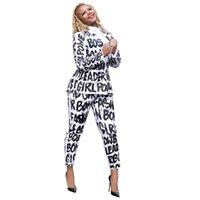 calças brancas para meninas venda por atacado-As mulheres brancas letras impressas Suits Casual Designer 2pcs Roupa Define cobre camisas calças menina