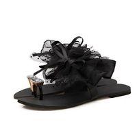 sandalia de encaje nuevo coreano al por mayor-Flor de fondo plano para mujer Hot New Fashion Sandals Summer Korean Black Lace Toe zapatillas de gran tamaño jooyoo