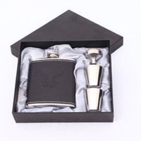 ingrosso set di vino portatile-7oz Stainless Steel Hip Flask Set jack Flagon With Funnel Cups Mini Whiskey Flagon Gift Outdoor Portable Wine Pot GGA2591