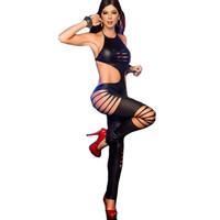 pvc deri seks toptan satış-Seksi Vücut Lingerie Ropa Sexi Erotica Mujer Seksi Pvc Lateks Catsuit Kadınlar Kostüm Kedi Kadın Kostüm Samimi Deri Gecelikler J190711