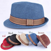 Wholesale cool kids hats for sale - Group buy Kids Fedora Hat Boys Girls Unisex Fedora Cap Child British Jazz Noble Temperament Style Hat Trim Cool cowboy caps LJJA