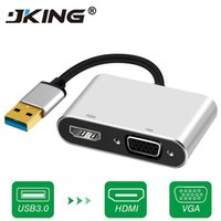 usb vga display converter al por mayor-Alta calidad USB 3.0 a HDMI Adaptador VGA Pantalla doble USB a VGA Cable convertidor de HDMI para 1080P MacBook Windows 7/8/10 Computadora