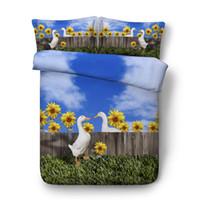 Wholesale bedding sets sunflowers resale online - 3D Sunflower duck print Duvet Cover with pillowcase Bedding Set Microfiber Quilt Cover Zipper Closure NO Comforter