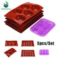 Wholesale diy mould set resale online - 5pcs Set Silicone Chocolate Cupcake Mold Semicircle Pudding Mold Cavity Hemisphere Mould Jelly Cake DIY Baking Decorative Tools T191018