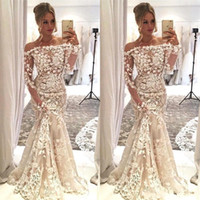 Wholesale sexy off shoulder straps wedding dresses for sale - Group buy 2020 New Hot Sexy Mermaid Wedding Dresses African Off Shoulder Lace D Appliques Long Sleeves Illusion Plus Size Sweep Train Bridal Gowns