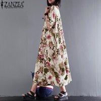 eski kimono kıyafeti toptan satış-Yaz Kadın Elbise Vintage Boho Çiçek Baskı Vestido Kısa Kollu Maxi Elbise Robe Femme Elbise Plus Size 5XL Ücretsiz Kargo