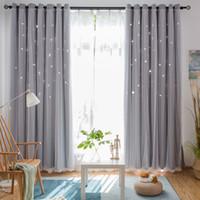cortinas finas al por mayor-Cortina decorativa Star Cortinas opacas con aislamiento térmico para sala de estar Dormitorio Habitación de la princesa Persianas cosidas con gasa