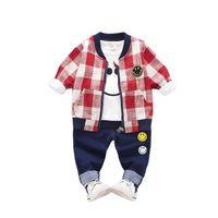 ec49bc903 Spring Autumn Children Boys Girls Cotton Clothes Baby Smiley Face Jacket T- shirt Pants 3 Pcs sets Kids Leisure Zipper Tracksuit