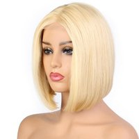 Wholesale men short blonde wigs for sale - Group buy LIN MAN Blonde Bob Lace Front Wig Pre Pluck Natural Hairline Brazilian Remy Human Hair ombre Blonde Short Bob Wigs