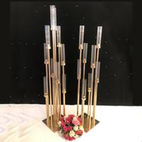 candelabros de casamento estão venda por atacado-Castiçais de metal Vasos de Flores Castiçais Mesa Do Casamento Centrais Candelabros Pilar Estandes Partido Decoração Estrada Chumbo