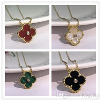 Wholesale shell clover necklace for sale - Group buy 2019 Fashion Jewelry Necklace Black and White Red Green Four Leaf Flower Shell Agate Silver Necklace diamond clover Buckle
