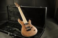 verrou de corde de guitare électrique achat en gros de-Stock de haute qualité 8 cordes cou de guitare électrique à travers le corps 5 pièce bois teint finition 24F verrouillage Tuner cordes Quilt M