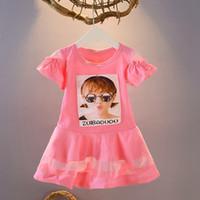fotos de tutus de bebe al por mayor-2019 Niño pequeño del verano para niños bebés niñas Funny Girl imagen de manga corta vestido de moda princesa fiesta Tutu vestido 5 colores