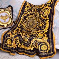 Wholesale black blanket fabric resale online - High end new europe italy classic royal palace design medusa branded gold black green red velvet fabric four season blanket D19011201